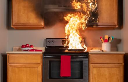 Kitchen fire on top stove top