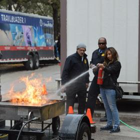 fire extinguisher training participant demonstration